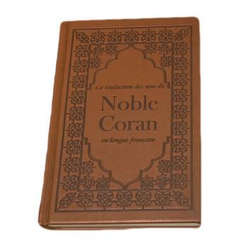 Le Saint Coran - Uniquement en Français - Daim en Marron - Format Moyen - 14 x 20 cm
