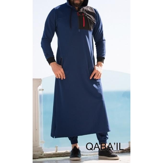 Qamis Long Indigo Qaba'il : Athletik