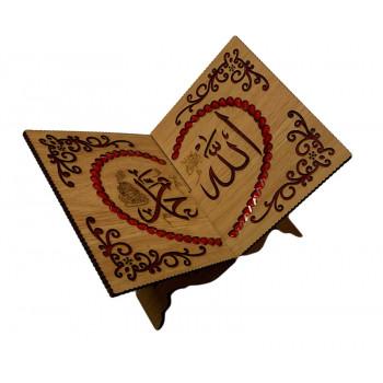 Porte Livre Calligraphie avec Strass Rouge - Porte Coran - 19x21 cm