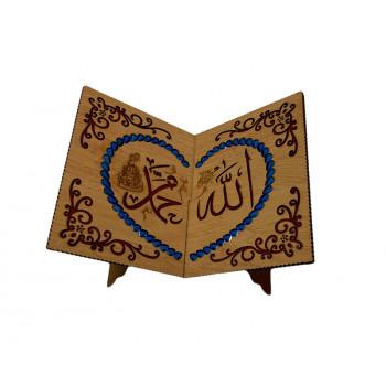 Porte Livre Calligraphie avec Strass Bleu - Porte Coran - 19x21 cm