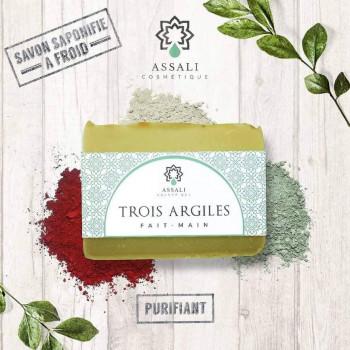 Savon Trois Argiles - Artisanal, Fait Main - 100 gr - Assali