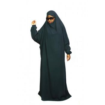 Jilbab 1P - Vert Canard Foncé 68 - Wool Peach - Jilbeb El Bassira
