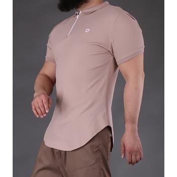 Polo Zip Beige Qaba'il : manches courtes