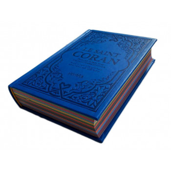 Le Saint Coran Bleu Roi - Couverture Daim - Pages Arc-En-Ciel - Français-Arabe-Phonétique - Maison Ennour