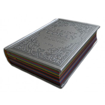 Le Saint Coran Argenté - Couverture Daim - Pages Arc-En-Ciel - Français-Arabe-Phonétique - Maison Ennour
