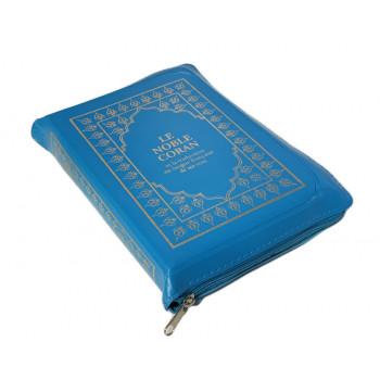 Le Noble Coran Bleu Zipper - Français /Arabe - FORMAT POCHE 13 x 19 cm