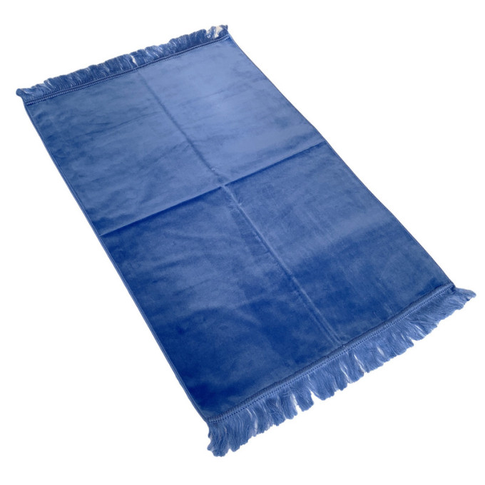 Tapis de Prière de Luxe - Couleur Bleu Clair Unis - Adulte - 73 x 110 cm