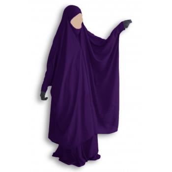 Jilbab Umm Hafsa 2 pièces à clips aubergine