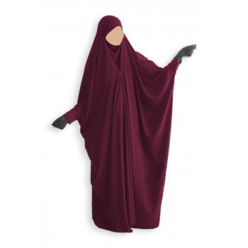 Jilbab 1 Pièce Saoudien à Clips - Bordeaux - Jilbeb Umm Hafsa