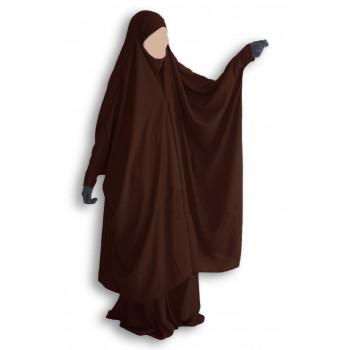 Jilbab Umm Hafsa 2 pièces à clips marron