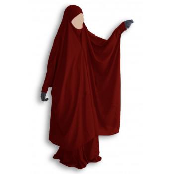 Jilbab Umm Hafsa 2 pièces à clips bordeau
