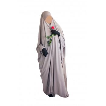 Jilbab 1 Pièce Saoudien à Clips - Taupe - Jilbeb Umm Hafsa