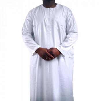 Qamis Blanc - Manche Longue - Sans Col - Tissu Glacé - Qamis Sultan