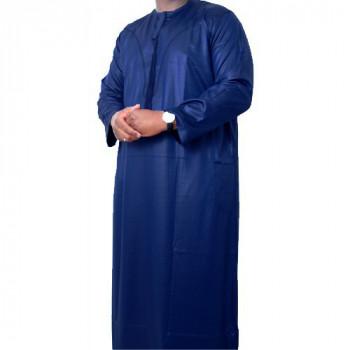 Qamis Omani Bleu - Manche Longue - Sans Col - Tissu Glacé - Qamis Sultan