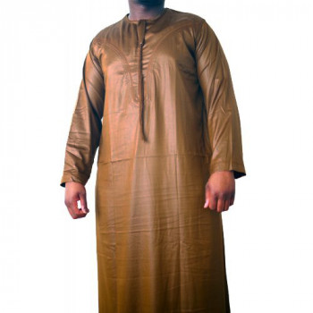 Qamis Omani Camel - Manche Longue - Sans Col - Tissu Glacé - Qamis Sultan