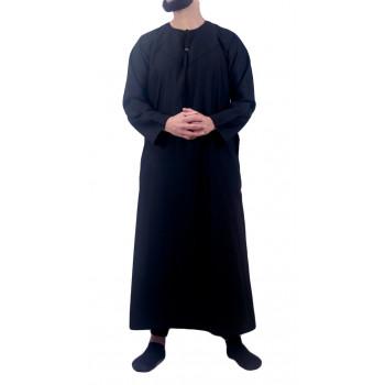 Qamis Omani Noir - Manche Longue - Sans Col - Tissu Non Glacé - Qamis Sultan