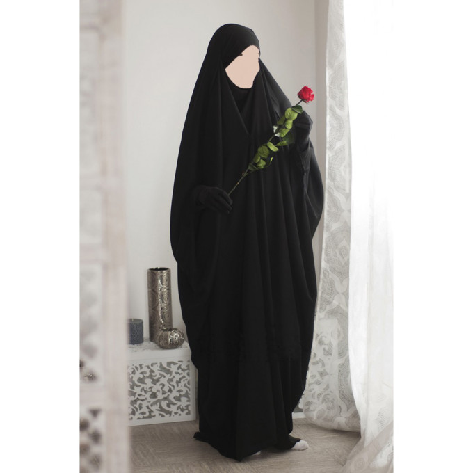 Jilbab 1 Pièce Saoudien à Clips - Noir - Jilbeb Umm Hafsa