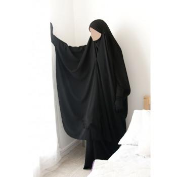 Jilbab 2 Pièces à Clips - Noir - Jilbeb Umm Hafsa