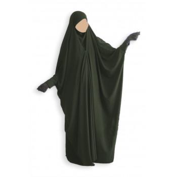 Jilbab 1 Pièce Saoudien à Clips - Vert Sapin - Jilbeb Umm Hafsa