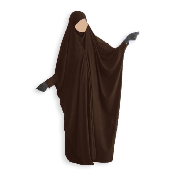 Jilbab 1 Pièce Saoudien à Clips - Marron - Jilbeb Umm Hafsa