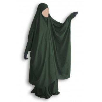 Jilbab 2 Pièces à Clips - Vert Sapin - Jilbeb Umm Hafsa