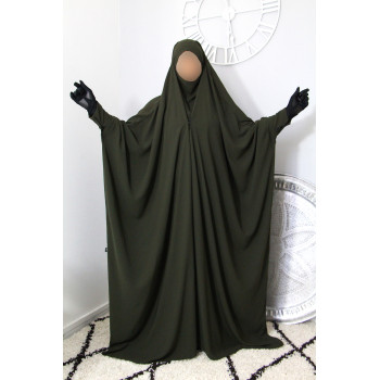 Jilbab 1 Pièce Saoudien à Clips - Kaki - Jilbeb Umm Hafsa