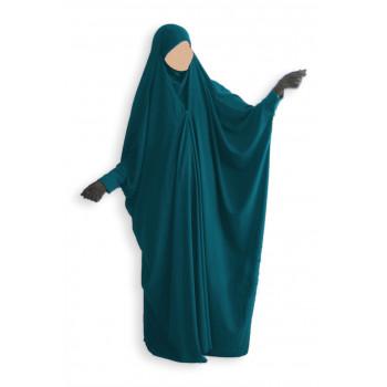 Jilbab 1 Pièce Saoudien à Clips - Vert Canard - Jilbeb Umm Hafsa