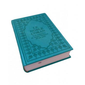 Le Saint Coran - Arabe et Français - Turquoise - Format de Poche 13 x 17 cm - Simili-Daim