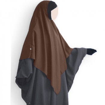 Hijab / Khimar et Bandeau Tube Lycra - Marron - Umm Hafsa