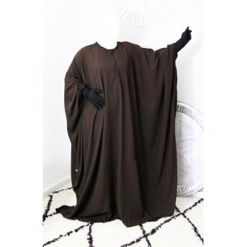 Abaya Maryam Manche Lycra, Papillon et Allaitement - Marron - Arbaya Umm Hafsa