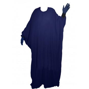 Abaya Maryam Manche Lycra, Papillon et Allaitement - Bleu Nuit - Arbaya Umm Hafsa