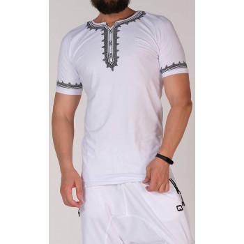 T-Shirt Etniz Blanc et Noir - Qaba'il : manches courtes