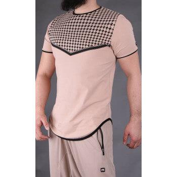 T-shirt Keffieh Beige Qaba'il : manches courtes