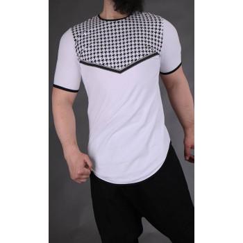 T-shirt Keffieh Blanc Qaba'il : manches courtes