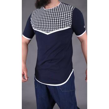 T-shirt Keffieh Bleu Nuit Qaba'il : manches courtes