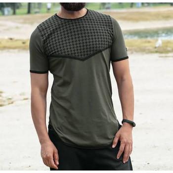 T-shirt Keffieh Kaki Qaba'il : manches courtes