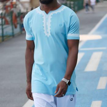 T-Shirt Etniz Bleu Clair - Qaba'il : manches courtes