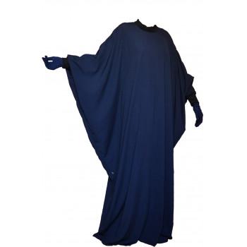 Abaya Lycra Col et Manche Lycra, Papillon - Bleu Nuit - Arbaya Umm Hafsa