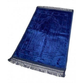 Grand Tapis de Prière - Bleu - Motif Mirhab - Molletonné, Épais et Très Doux - Confortable et Anti-Dérapant