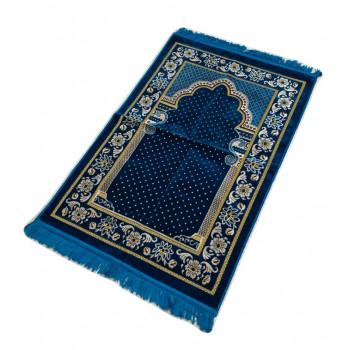 Tapis de Prière - Motif Mirhab Bleu Vert - Adulte - 69 x119 cm