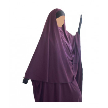 Hijab / Khimar Maryam Bandeau Lycra - Prune - Umm Hafsa