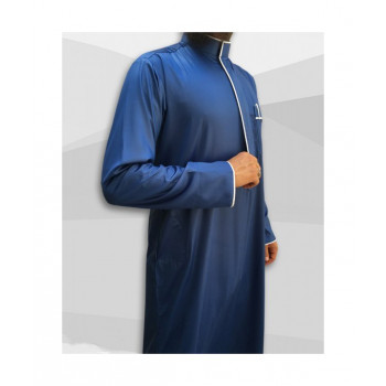 Qamis Edge - Tissu Precious Bleu Roi Satin et Blanc - Custom Qamis