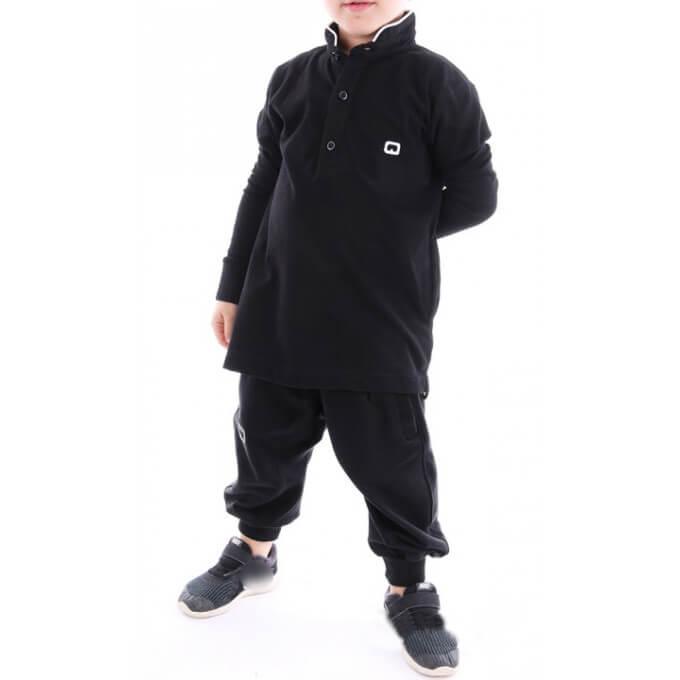 Polo manches longues noir Qaba'il : junior