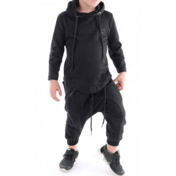 Sarouel et sweat enfant noir, ensemble Qaba'il : Onyx