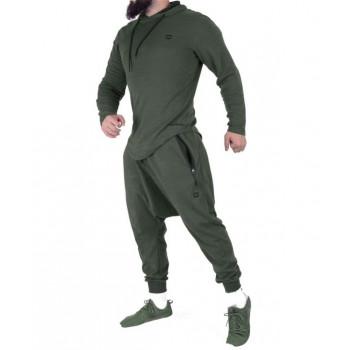 Sarouel et veste à capuche Vert Petrole, ensemble Qaba'il : Onyx