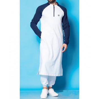 Qamis blanc et indigo Qaba'il : Longline