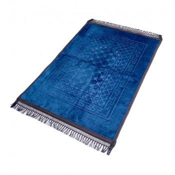 Grand Tapis de Prière - Bleu Pétrol - Motif Mirhab - Molletonné, Épais et Très Doux - Confortable et Anti-Dérapant