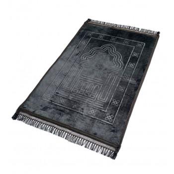 Grand Tapis de Prière - Gris Anthracite - Motif Mirhab - Molletonné, Épais et Très Doux - Confortable et Anti-Dérapant