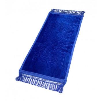 Tapis Enfant de Prière avec Motif Mirhab - Bleu Roi - Molletonné, Épais et Très Doux - Confortable et Anti-Dérapant - 42 x 80 cm