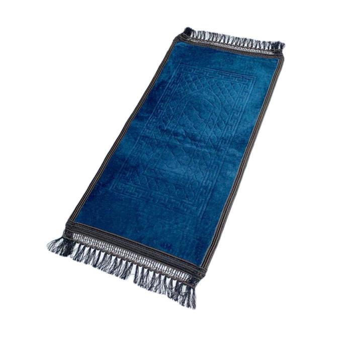 Tapis Enfant de Prière avec Motif Mirhab - Bleu Pétrole - Molletonné, Épais et Très Doux - Confortable et Anti-Dérapant - 42 x 8